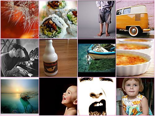 "1. <a href=""http://www.flickr.com/photos/catma/159333090/"">dandelion and amber</a>, 2. <a href=""http://www.flickr.com/photos/drp/3562074/"">Flickr Loves Sushi. Mmm.</a>, 3. <a href=""http://www.flickr.com/photos/christie_in_cal/2326436607/"">dirty rotten homeschooled kid</a>, 4. <a href=""http://www.flickr.com/photos/sicoactiva/163327092/"">vw</a>, 5. <a href=""http://www.flickr.com/photos/12161161@N05/1260243350/"">colin_firth_08</a>, 6. <a href=""http://www.flickr.com/photos/82513143@N00/2543660898/"">Golden Drak</a>, 7. <a href=""http://www.flickr.com/photos/agedsenator/444776771/"">Boat</a>, 8. <a href=""http://www.flickr.com/photos/hello_winnie/1463454167/"">Crème Brulée</a>, 9. <a href=""http://www.flickr.com/photos/kuwaiti_muwali/2046752373/"">Calm Sunset [HDR]</a>, 10. <a href=""http://www.flickr.com/photos/dark-o/408532292/"">bless from above</a>, 11. <a href=""http://www.flickr.com/photos/evelet/2419682014/"">Loud Mouth</a>, 12. <a href=""http://www.flickr.com/photos/oneshabbychick/2514915560/"">Baby girl's top</a>"
